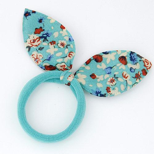 Draht Bun -Bogen, Gummiband, mit Stoff, Schleife, blau, 50x30mm, verkauft von PC
