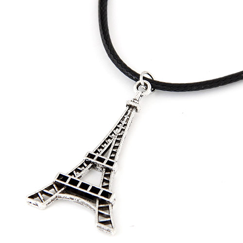 Gewachste Nylon Halsband, Zinklegierung, mit Gewachste Nylonschnur, Eiffelturm, antik silberfarben plattiert, frei von Blei & Kadmium, 420x45x25mm, verkauft per 16.54 ZollInch Strang