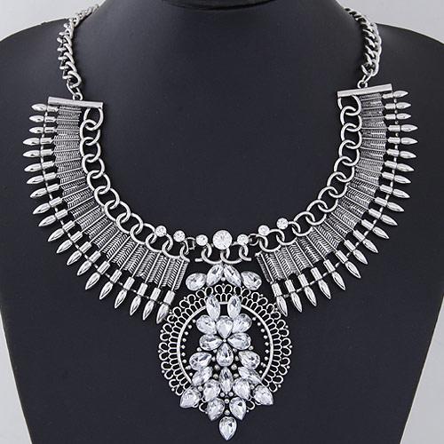 Mode Statement Halskette, Zinklegierung, antik silberfarben plattiert, facettierte & mit Strass, frei von Blei & Kadmium, 400x120x85x55mm, verkauft per ca. 15.75 ZollInch Strang
