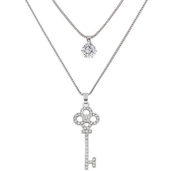 Mode-Multi-Layer-Halskette, Zinklegierung, Schlüssel, Platinfarbe platiniert, Kastenkette & mit kubischem Zirkonia & mit Strass & 2 strängig, frei von Blei & Kadmium, 550x700mm, verkauft per 21.65 ZollInch Strang