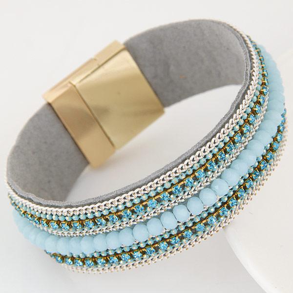 Slake Armband, Zinklegierung, mit Eisenkette & Baumwollsamt, goldfarben plattiert, mit Strass, himmelblau, frei von Blei & Kadmium, 22mm, verkauft per ca. 6.5 ZollInch Strang