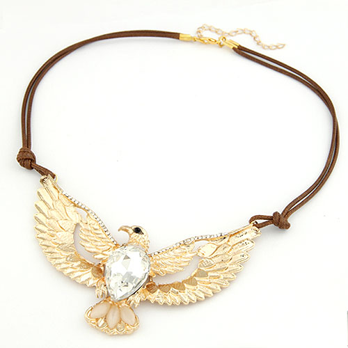 Buy Fashion Statement Necklace Zinc Alloy Cats Eye & Glass Eagle gold color plated faceted & rhinestone lead & cadmium free 400x110x55mm Sold Per Approx 15.75 Inch Strand