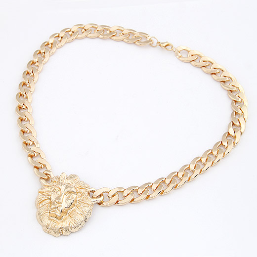 Buy Zinc Alloy Jewelry Necklace Lion twist oval chain & 2-strand lead & cadmium free 42mm Sold Per Approx 15.75 Inch Strand