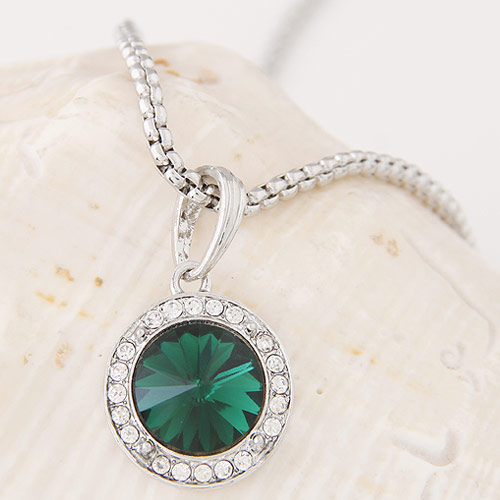 Buy Zinc Alloy Jewelry Necklace Czech Rhinestone & Glass Flat Round platinum color plated box chain lead & cadmium free 500x35x20mm Sold Per Approx 19.69 Inch Strand