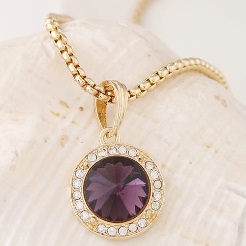 Buy Zinc Alloy Jewelry Necklace Glass Flat Round gold color plated box chain & rhinestone lead & cadmium free 500x35x20mm Sold Per Approx 19.69 Inch Strand