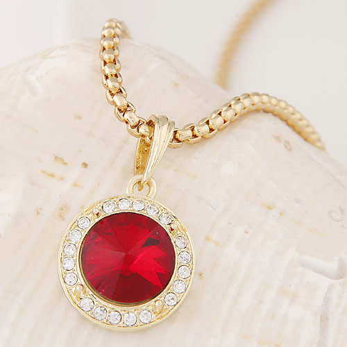 Buy Zinc Alloy Sweater Chain Necklace Czech Rhinestone & Glass Flat Round gold color plated box chain red lead & cadmium free 500x35x20mm Sold Per Approx 19.69 Inch Strand