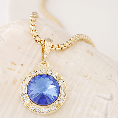 Buy Zinc Alloy Jewelry Necklace Czech Rhinestone & Glass Flat Round gold color plated box chain lead & cadmium free 500x35x20mm Sold Per Approx 19.69 Inch Strand
