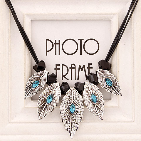 Buy Zinc Alloy Jewelry Necklace Rhinestone antique silver color plated lead & cadmium free 400mm Sold Per Approx 15.75 Inch Strand