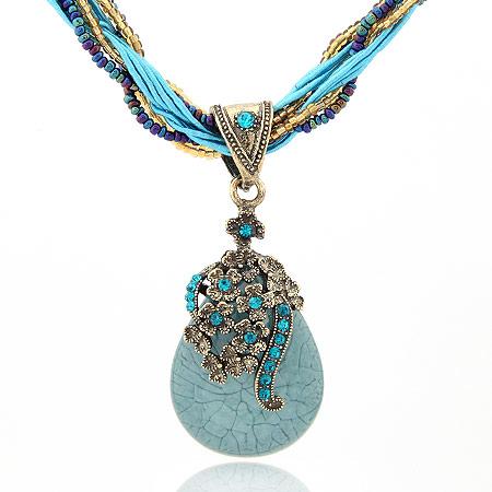 Harz Halskette, Zinklegierung, mit Glas-Rocailles & Harz, Tropfen, antike Bronzefarbe plattiert, blau, frei von Blei & Kadmium, 400x70x30mm, verkauft per ca. 15.75 ZollInch Strang