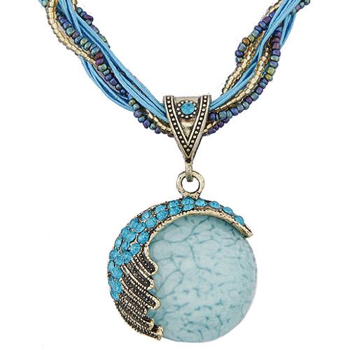 Glasperlen -Halsketten-, Zinklegierung, mit Nylonschnur & Glas-Rocailles, antik silberfarben plattiert, frei von Blei & Kadmium, 400x57x37mm, verkauft per ca. 15.75 ZollInch Strang