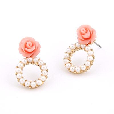 Harz Ohrring, Zinklegierung, mit Harz, Blume, vergoldet, Nachahmung Perle, frei von Blei & Kadmium, 20x14mm, verkauft von Paar