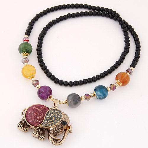 Glas Pullover Kette Halskette, Zinklegierung, mit Acryl, Elephant, antike Bronzefarbe plattiert, farbenfroh, frei von Blei & Kadmium, 700mm, verkauft per ca. 27.56 ZollInch Strang