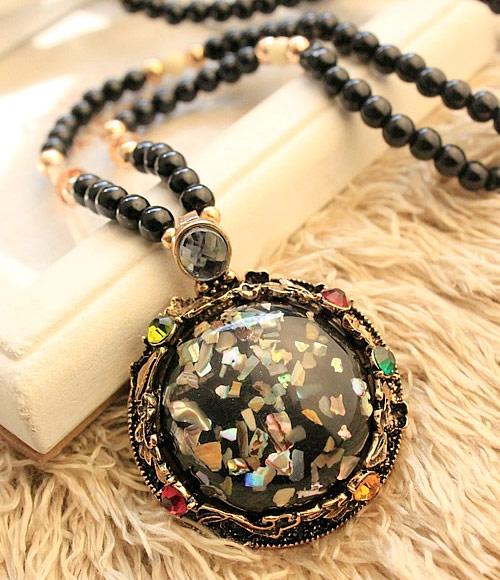 Harz Pullover Halskette, mit Zinklegierung, flache Runde, antike Bronzefarbe plattiert, schwarz, frei von Blei & Kadmium, 750x66x45mm, verkauft per ca. 29.53 ZollInch Strang