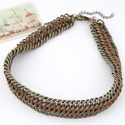 Kette Woven Halskette, Zinklegierung, mit PU Leder, mit Verlängerungskettchen von 5cm, antike Bronzefarbe plattiert, frei von Blei & Kadmium, 400x22mm, verkauft per ca. 15.75 ZollInch Strang