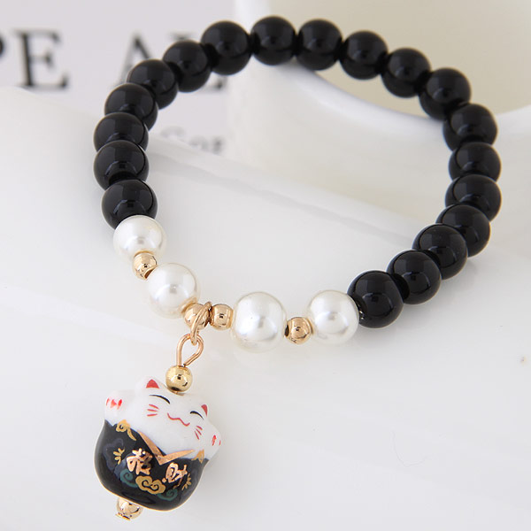 Glasperlen Armband, Porzellan, mit Glas & Zinklegierung, Vermögen-Katze, goldfarben plattiert, 175mm, verkauft per 6.89 ZollInch Strang