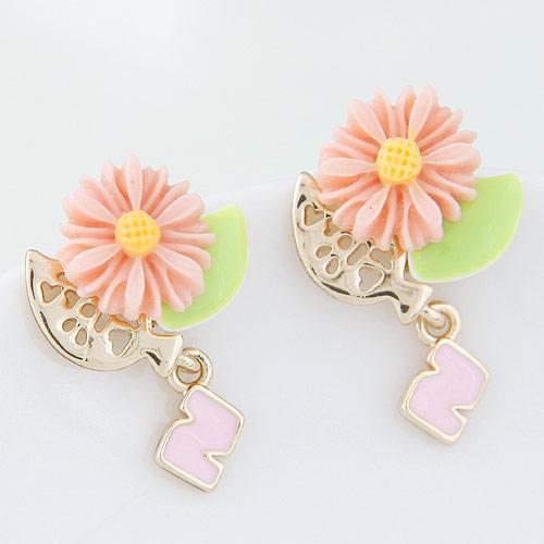 Zinklegierung Tropfen Ohrring, mit Harz, Blume, goldfarben plattiert, Rosa, frei von Blei & Kadmium, 18x27mm, verkauft von Paar