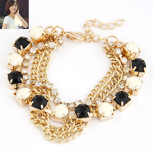 Buy Zinc Alloy Bracelet Resin gold color plated twist oval chain white black lead & cadmium free 180x8mm Sold Per Approx 7.09 Inch Strand