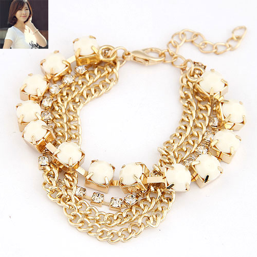 Buy Zinc Alloy Bracelet Resin Rhinestone gold color plated twist oval chain white lead & cadmium free 180x8mm Sold Per Approx 7.09 Inch Strand