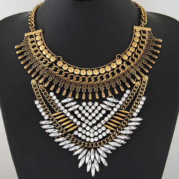 Buy Zinc Alloy Jewelry Necklace iron chain 5cm extender chain antique gold color plated twist oval chain & faceted & rhinestone lead & cadmium free 400mm Sold Per Approx 15.75 Inch Strand