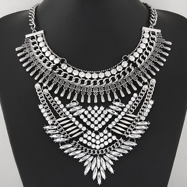 Buy Zinc Alloy Jewelry Necklace iron chain 5cm extender chain antique silver color plated twist oval chain & faceted & rhinestone lead & cadmium free 400mm Sold Per Approx 15.75 Inch Strand