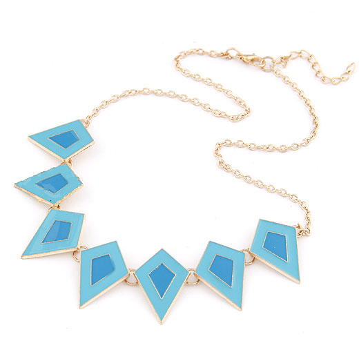 Zinc Alloy Jewelry Necklace gold color plated oval chain & enamel blue 400x140x26mm Sold Per Approx 15.75 Inch Strand