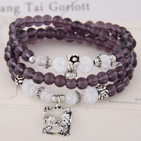 Buy Glass Beads Bracelet Zinc Alloy Glass antique silver color plated 3-strand lead & cadmium free 15mm Sold Per 19.69 Inch Strand