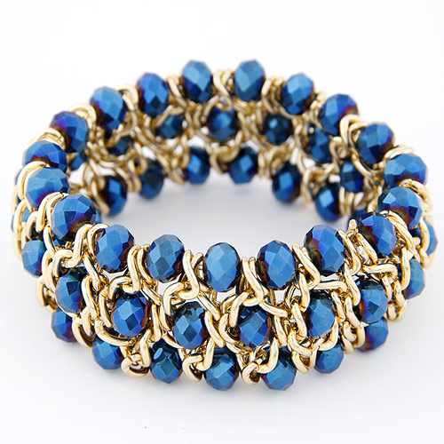 Buy Crystal Bracelets Zinc Alloy Crystal gold color plated faceted blue lead & cadmium free 175x28mm Sold Per Approx 6.89 Inch Strand