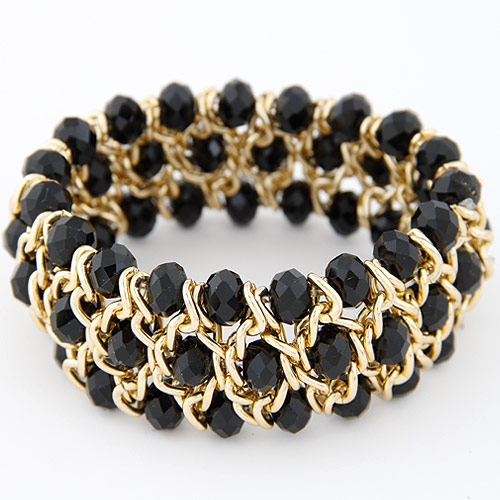 Buy Crystal Bracelets Zinc Alloy Crystal gold color plated faceted black lead & cadmium free 175x28mm Sold Per Approx 6.89 Inch Strand
