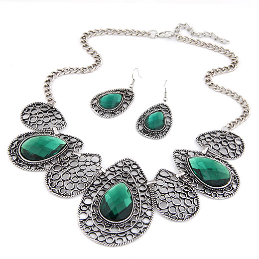 Buy Zinc Alloy Jewelry Sets earring & necklace Glass 5cm extender chain Teardrop plumbum black color plated twist oval chain lead & cadmium free 180x68mm 47x23mm Length:Approx 15.75 Inch Sold Set