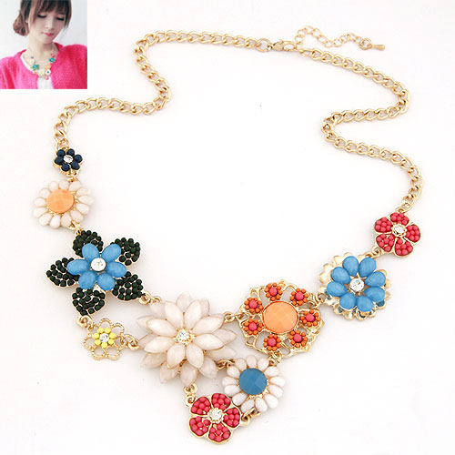 Buy Fashion Statement Necklace Zinc Alloy Glass Seed Beads Flower gold color plated twist oval chain multi-colored lead & cadmium free 400*400*170*50mm Sold Per Approx 15.75 Inch Strand