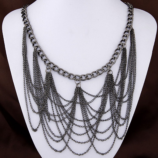 Buy Fashion Fringe Necklace Zinc Alloy plumbum black color plated twist oval chain lead & cadmium free 400x95mm Sold Per Approx 15.75 Inch Strand