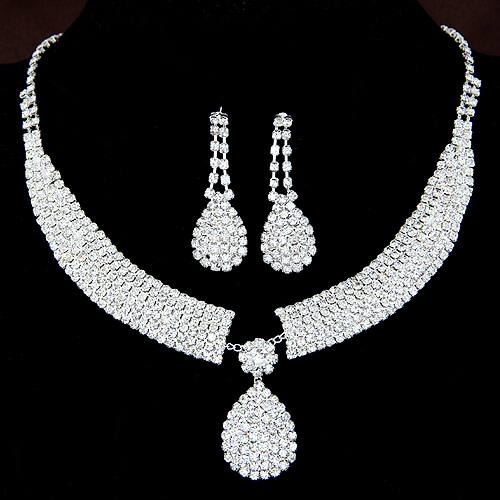 Buy Wedding Jewelry Sets earring & necklace Zinc Alloy Teardrop platinum color plated bridal & rhinestone 42x16mm Length:Approx 15.75 Inch Sold Set