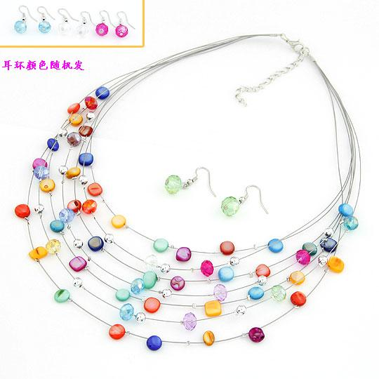 Buy Shell Jewelry Sets earring & necklace Zinc Alloy Shell platinum color plated multi-colored lead & cadmium free 400mm 27x9mm Length:Approx 15.75 Inch Sold Set