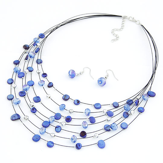 Buy Shell Jewelry Sets earring & necklace Zinc Alloy Shell platinum color plated blue lead & cadmium free 400mm 27x9mm Length:Approx 15.75 Inch Sold Set