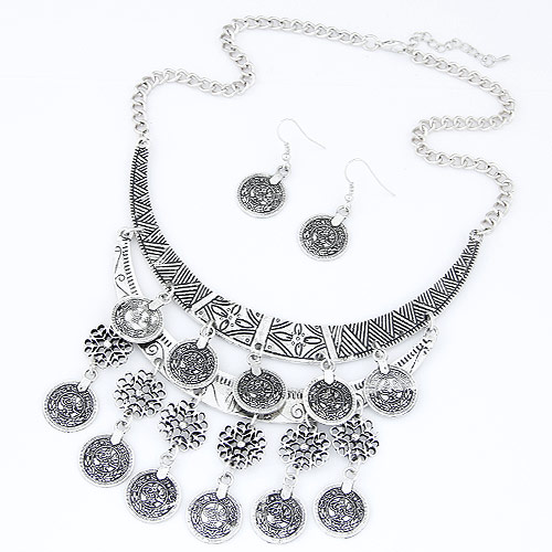 Buy Vintage Coin Statement Jewelry Set earring & necklace Zinc Alloy 5cm extender chain antique silver color plated twist oval chain & rhinestone lead & cadmium free 400x120x80mm 40x18mm Length:Approx 15.75 Inch Sold Set