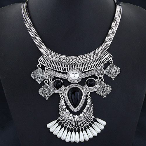 Buy Fashion Statement Necklace Zinc Alloy ABS Plastic Pearl & Rhinestone antique silver color plated lead & cadmium free 110x47mm Sold Per Approx 15.75 Inch Strand
