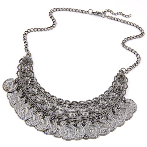 Buy Vintage Coin Statement Necklace Zinc Alloy 5cm extender chain plumbum black color plated twist oval chain lead & cadmium free 400mm Sold Per Approx 15.75 Inch Strand