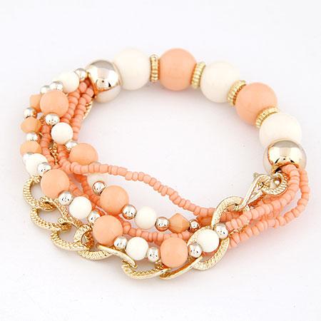 Acryl Armbänder, Zinklegierung, mit Acryl, goldfarben plattiert, orange, frei von Blei & Kadmium, 170mm, Länge:ca. 6.69 ZollInch, verkauft von setzen