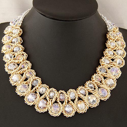 Mode Statement Halskette, Zinklegierung, mit Kristall, Rondell, goldfarben plattiert, frei von Blei & Kadmium, 380x160x30mm, verkauft per ca. 14.96 ZollInch Strang