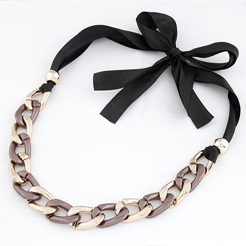 Verkupfter Kunststoff Halsketten, Verkupferter Kunststoff, mit Satinband, plattiert, frei von Blei & Kadmium, 5-10mm, Länge:ca. 15.5 ZollInch, verkauft von PC