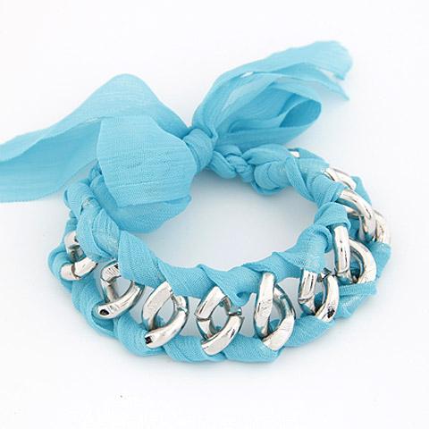 Kette gewebte Armbänder, Zinklegierung, mit Stoff, Schleife, Platinfarbe platiniert, blau, frei von Blei & Kadmium, 175x19mm, verkauft per ca. 6.89 ZollInch Strang