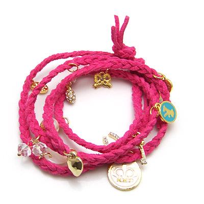 Weich-PVC -Armband, Baumwollsamt, mit Zinklegierung, goldfarben plattiert, Armband  Bettelarmband & 4-Strang, gesundes Armband, 820x20mm, verkauft per ca. 32.28 ZollInch Strang