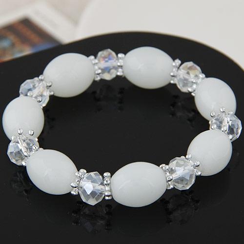 Acryl Armbänder, mit Kristall, oval, facettierte, weiß, 12mm, verkauft per ca. 6.89 ZollInch Strang