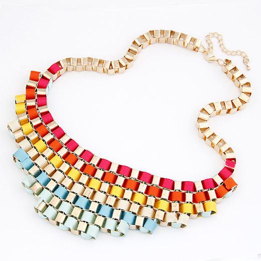 Kette Woven Halskette, Zinklegierung, mit Satinband, goldfarben plattiert, farbenfroh, frei von Blei & Kadmium, 200x55mm, verkauft per ca. 16.54 ZollInch Strang