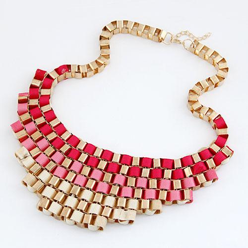Kette Woven Halskette, Zinklegierung, mit Ripsband, goldfarben plattiert, frei von Blei & Kadmium, 200x55mm, verkauft per ca. 16.54 ZollInch Strang