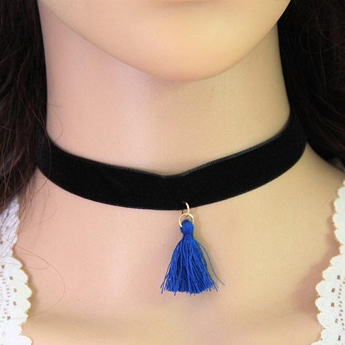 Gothic Halskette, Zinklegierung, mit Baumwollsamt, mit Verlängerungskettchen von 5cm, goldfarben plattiert, blau, frei von Blei & Kadmium, 28mm, verkauft per ca. 11.5 ZollInch Strang