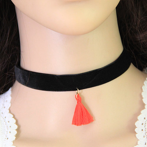 Gothic Halskette, Zinklegierung, mit Baumwollsamt, mit Verlängerungskettchen von 5cm, goldfarben plattiert, rot, frei von Blei & Kadmium, 28mm, verkauft per ca. 11.5 ZollInch Strang