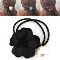 Pferdeschwanz-Halter, Gummiband, mit Seidenspinnerei, Blume, schwarz, 45mm, verkauft von PC