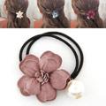 Pferdeschwanz-Halter, Gummiband, mit Seidenspinnerei, Blume, Rosa, 45mm, verkauft von PC