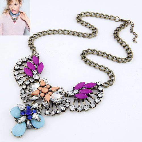 Buy Fashion Statement Necklace Zinc Alloy Rhinestone & Resin Flower plumbum black color plated lead & cadmium free 120x68x54mm Sold Per Approx 15.75 Inch Strand